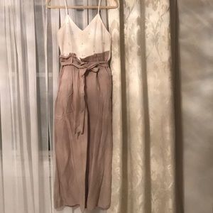 White and tan pearl jumpsuit petite